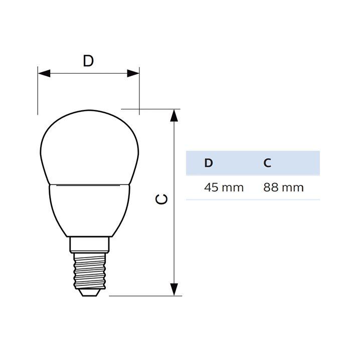 Żarówka LED KULKA E14 5,5W = 40W  520lm PHILIPS 4000K CL