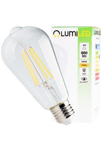 Żarówka LED E27 ST64 8W = 65W 880lm 3000K Ciepła 360° Filament LUMILED