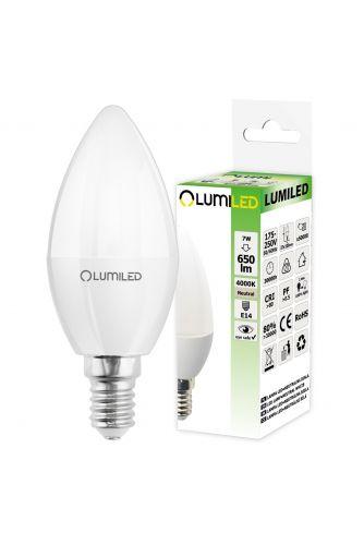 Żarówka LED E14 B35 7W = 65W 650lm 4000K Neutralna 180° LUMILED