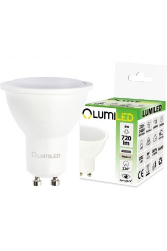 Żarówka LED GU10 8W = 70W 720lm  4000K Neutralna 120° LUMILED