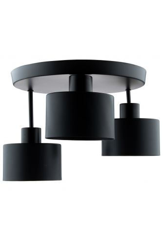 Lampa sufitowa TRAGULA czarna SPOT okrągła do LED 3x E27 LUMILED