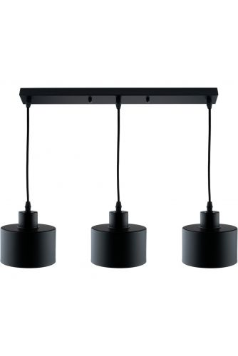 Lampa wisząca TRAGULA czarna BELKA loft do LED 3xE27 LUMILED