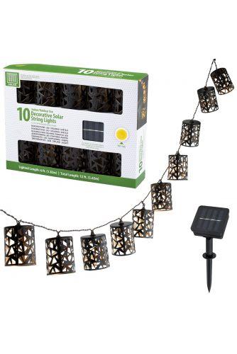 GIRLANDA SOLARNA 10 kloszy geometrycznych LED 3,6m ogrodowa ozdobna dekoracyjna 3000K ciepła