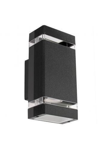 Kinkiet ogrodowy elewacyjny podwójny Masterled HANA LED 2x GU10 ALUMINIUM czarny IP54