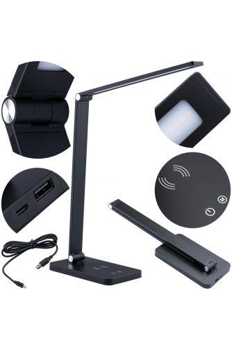 Lampka Biurkowa Nocna LED 7W 2700K-6000K CCT USB Ściemnialna Dotykowa Ładowarka QI