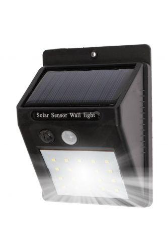 Naświetlacz LED SOLARNY 3W 5500-6000K Zimna IP65 Czarny CZUJNIK RUCHU Masterled