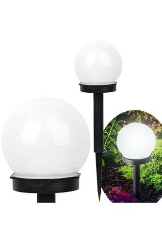 Lampa Ogrodowa LED Solarna Wbijana BIAŁA KULA 10cm Polux