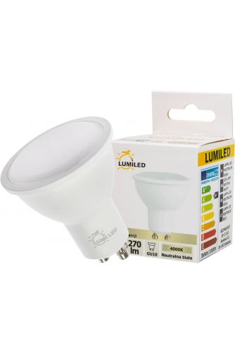 Żarówka LED GU10 3W = 30W 270lm LUMILED Neutralna 4000K 120°