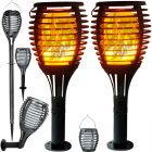 Zestaw 2x Lampa ogrodowa LED FLAME Solarna stojąca wbijana wisząca 60cm PŁOMIEŃ 1700K Polux