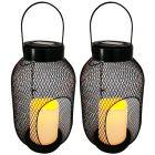 Zestaw 2x Lampa Ogrodowa LED Solarna Wisząca BARI Latarenka czarna Polux