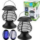 Zestaw 2x Lampa LATARENKA ogrodowa LED solarna UV odstraszająca owady przenośna