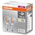 Żarówka LED E14 kulka 4W = 40W 470lm 2700K Filament OSRAM base 2pak