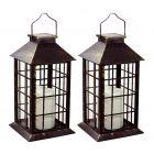 Zestaw 2x Lampa Ogrodowa LED Solarna Wisząca LATARENKA 27cm Patyna Polux