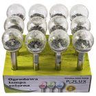 Zestaw 12x Lampa Ogrodowa LED Solarna Wbijana KULA SZKŁO Inox 8 cm Polux