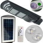 Lampa Uliczna SOLARNA oprawa LED Szara 40W 6000K Zimna 2000lm IP65 CZUJNIK RUCHU z PILOTEM