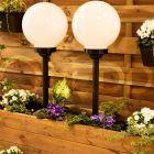Lampa ogrodowa LED solarna biało-czarna KULA 20cm wbijana 6500K zimna VOLTENO