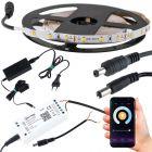 Taśma LED 24W SMD2835 Zimna IP20 5m + Sterownik TUYA SMART WiFi + Zasilacz gniazdkowy + wtyk