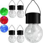 Zestaw 5x Lampa ogrodowa LED solarna wisząca KULA LED RGB szklana czarna Polux
