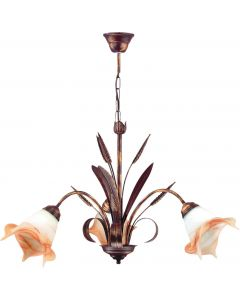 Żyrandol Kłos 3 kwiaty 3xE27 Metal i szkło styl klasyczny retro Lampex