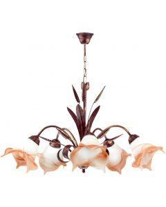 Żyrandol Kłos 5 kwiaty 5xE27 Metal i szkło styl klasyczny retro Lampex