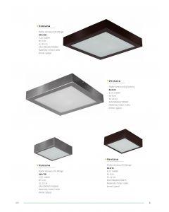 Plafon Lampa sufitowa kwadrat Ventana 44 cm Wenge 2x E27 Metal i szkło Lampex