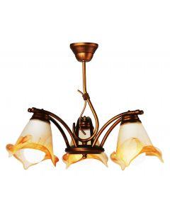 Żyrandol Sanki 3 kwiaty 3xE27 Metal i szkło styl klasyczny retro Lampex
