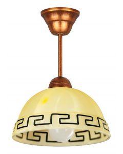 Lampa wisząca klasyczna 1x E27 Metal i szkło Lampex styl antyczny z greckim wzorem