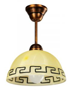 Lampa wisząca klasyczna 1x E27 Lampex Metal i szkło styl antyczny z greckim wzorem