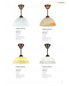 Lampa wisząca klasyczna 1x E27 Metal i szkło Lampex Styl antyczny Biały klosz z greckim wzorem