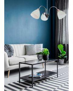 Żyrandol lampa wisząca sufitowa Wezuwio srebrny 3x E27 Metal i szkło Lampex styl klasyczny