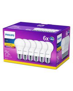 6x Żarówka LED E27 11W = 75W 1055lm A60 2700K 200° PHILIPS 3W1