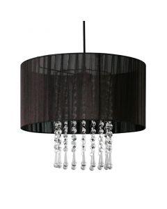 Lampa wisząca Wenecja Czarna 1x E27 Metal abażur tkanina kryształki Lampex styl glamour