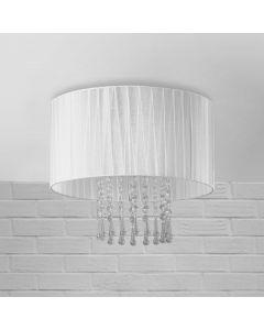 Lampa sufitowa Wenecja Biała 1xE27 Metal abażur tkanina kryształki Lampex styl glamour