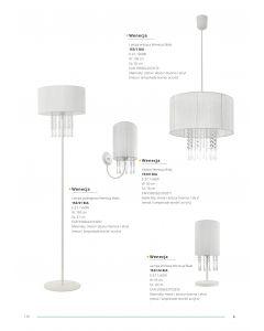 Kinkiet Wenecja Biały 1x E27 Metal abażur tkanina kryształki Lampex styl glamour