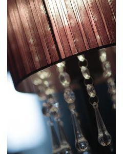Kinkiet Wenecja Czarny 1x E27 Metal abażur tkanina kryształki Lampex styl glamour