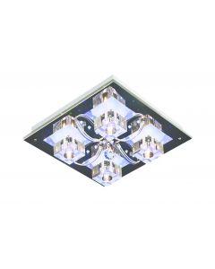 Lampa sufitowa plafon Atlanta 4xG4 kryształki Metal i szkło styl nowoczesny glamour Lampex + pilot