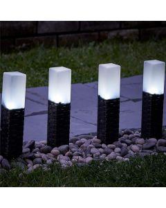 Zestaw 2x Lampa SZPIKULEC RATTAN ogrodowa LED solarna wbijana czarno-biała