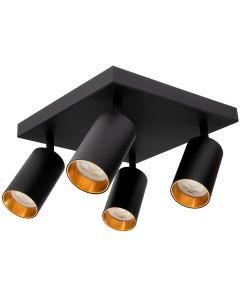 Kinkiet sufitowy 4x GU10 SPOT Lampa LED QUALIS IV Czarny + pierścień złoty