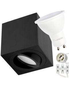 Zestaw Oprawa HALOGENOWA natynkowa spot + LED GU10 6W