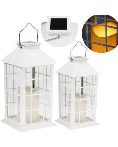 Zestaw 2x Lampa Ogrodowa LED Solarna Wisząca LATARENKA 27cm Biała Polux