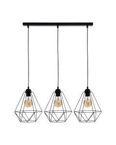Lampa wisząca BASKET 3xE27 Geometryczny Kształt Loft Czarna Koszyk Diament MLP7215 Metal
