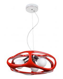 Lampa wisząca Amano Czerwona 3x E27 Metal i PCV Lampex Styl nowoczesny