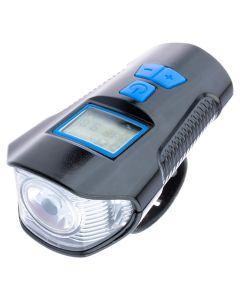 Zestaw wielofunkcyjna lampka rowerowa z licznikiem i klaksonem LED USB PRZÓD + lampka TYŁ