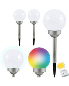 Zestaw 3x Lampa Ogrodowa LED SOLARNA POLUX KULA 15cm BIAŁY + SATYNA RGBW