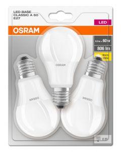Żarówka LED E27 8,5W = 60W A60 806lm 2700K OSRAM BASE Blister 3PAK