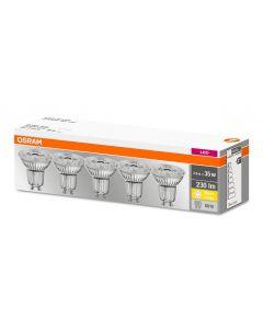 Żarówka LED GU10 halogen 2,3W = 35W 230lm 36D 2700K base Par16 OSRAM 5-pak