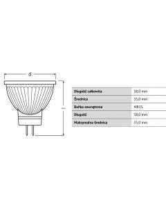Żarówka LED MR11 HALOGEN 3,2W = 20W 184lm 2700K ŚCIEMNIALNA OSRAM PARATHOM