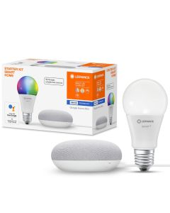 Żarówka LED E27 10W RGB + CCT A60 SMART+ Bluetooth LEDVANCE + Głośnik Google Home Mini Szary