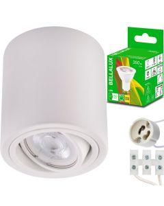 Oprawa Natynkowa HALOGENOWA Aluminiowa Biała SPOT TUBA 10cm + Żarówka LED GU10 5W 2700K Bellalux