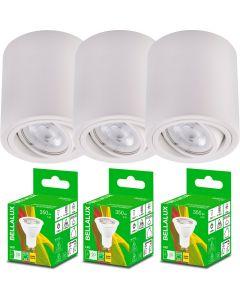 3x Oprawa Natynkowa HALOGENOWA Aluminiowa Biała SPOT TUBA 10cm + Żarówka LED GU10 5W 2700K Bellalux